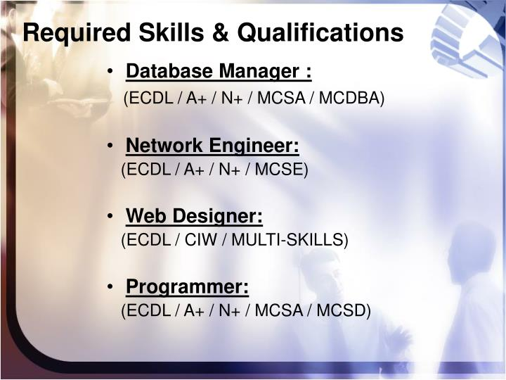 Required Skills & Qualifications