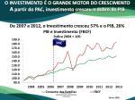 o investimento o grande motor do crescimento a partir do pac investimento cresceu o dobro do pib