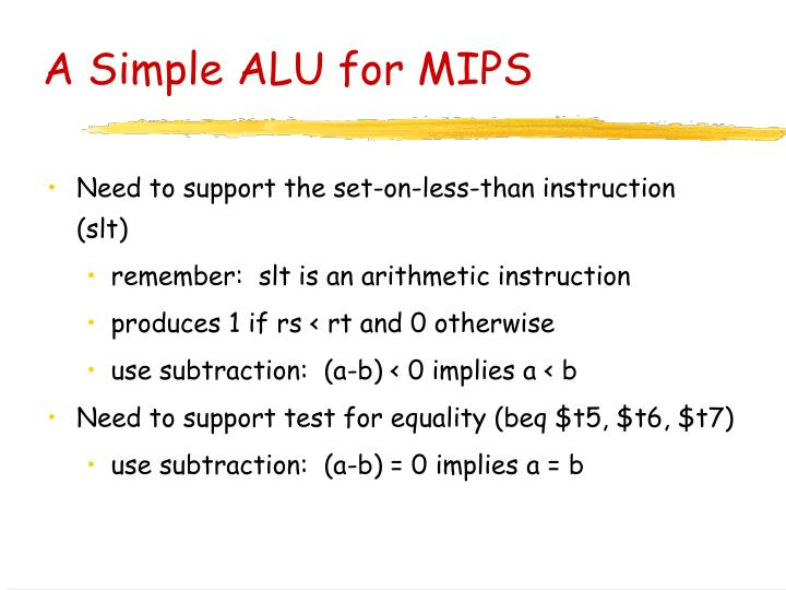 A Simple ALU for MIPS