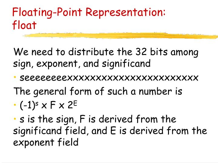Floating-Point Representation: float