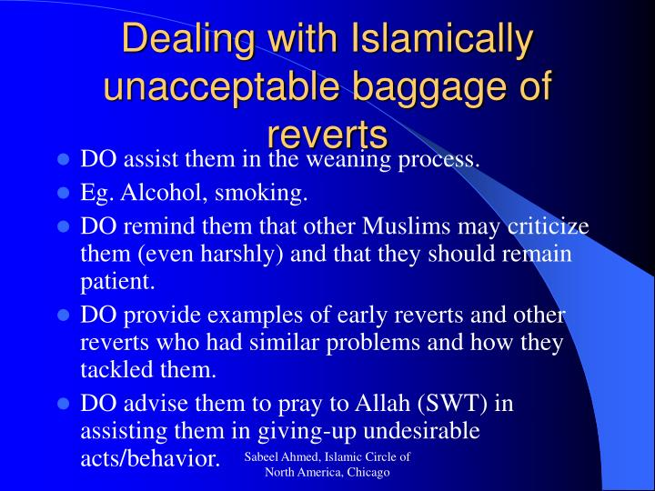 Dealing with Islamically unacceptable baggage of reverts