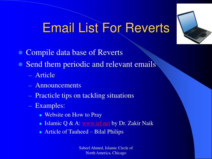 Email List For Reverts