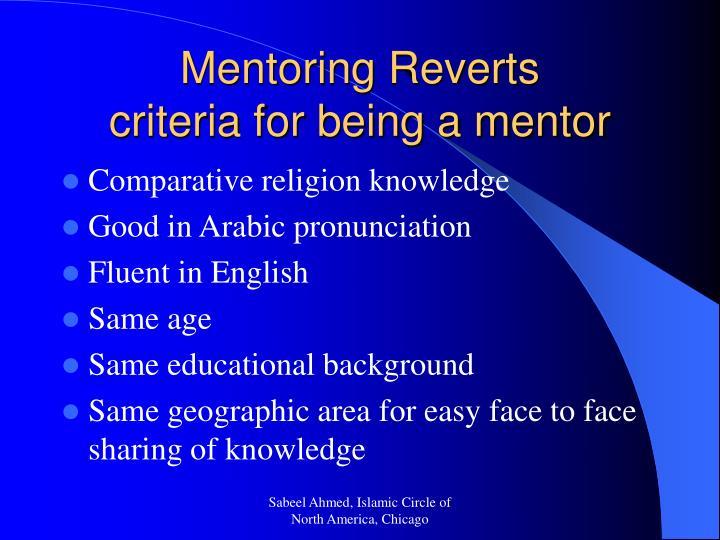 Mentoring Reverts