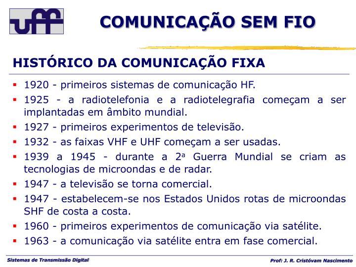 HISTÓRICO DA COMUNICAÇÃO FIXA