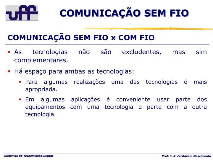 COMUNICAÇÃO SEM FIO x COM FIO
