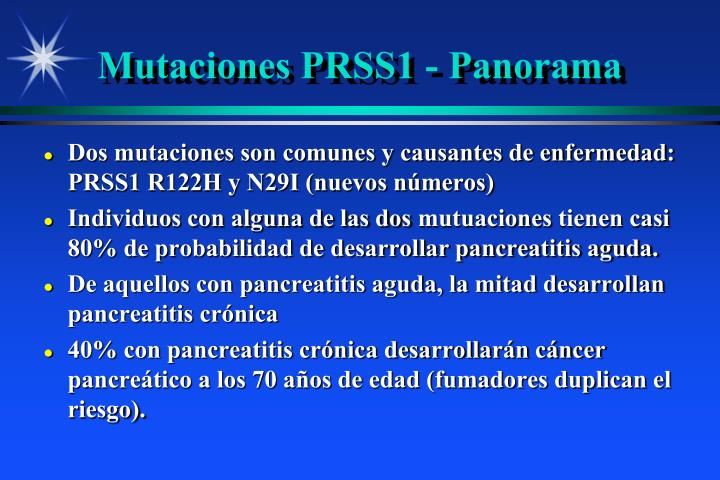 Mutaciones PRSS1 - Panorama