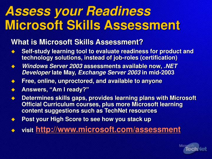 Assess your Readiness