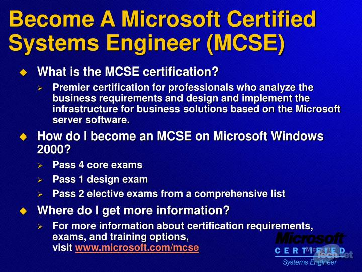 Become A Microsoft Certified Systems Engineer (MCSE)