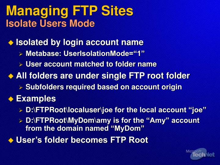 Managing FTP Sites
