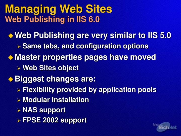 Managing Web Sites