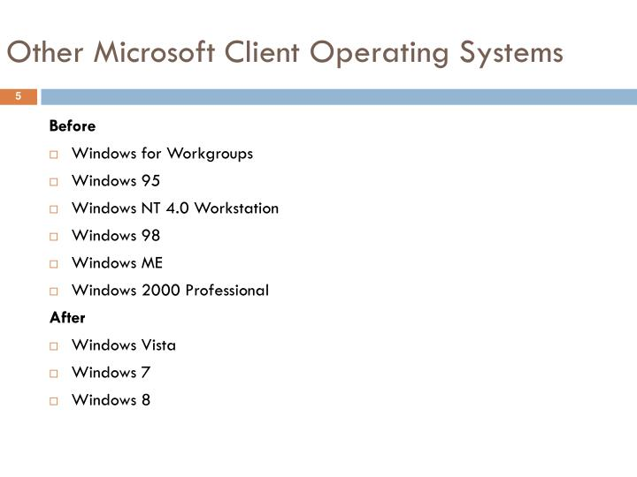 Other Microsoft Client Operating Systems