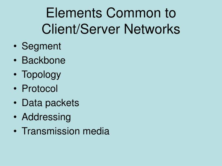 Elements Common to Client/Server Networks