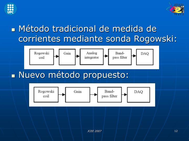 Método tradicional de medida de corrientes mediante sonda Rogowski: