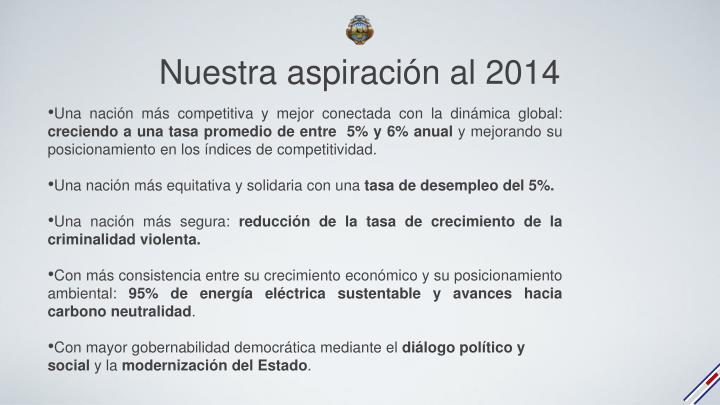 Nuestra aspiración al 2014