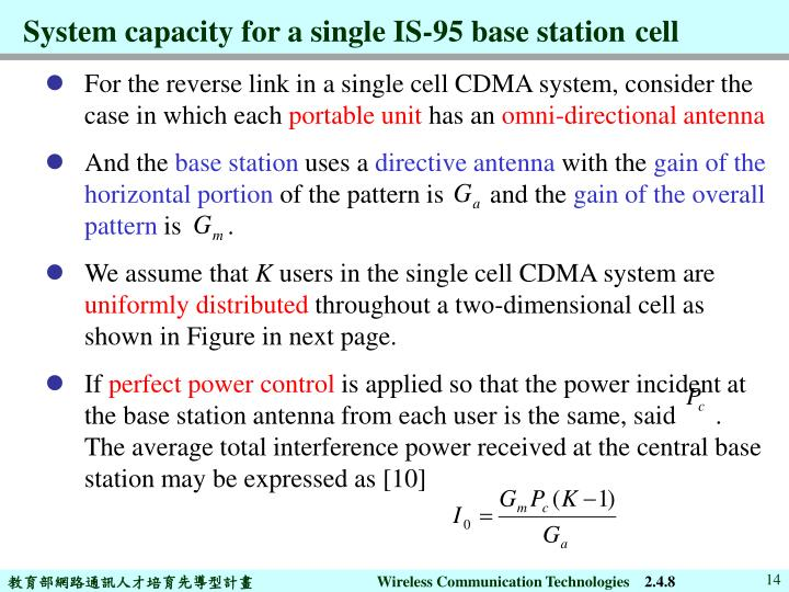 System capacity for a single IS-95 base station
