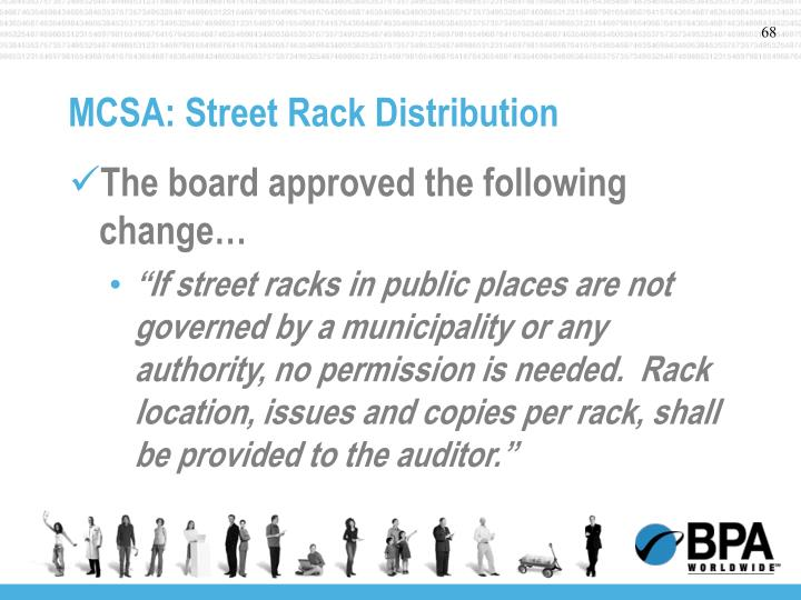 MCSA: Street Rack Distribution