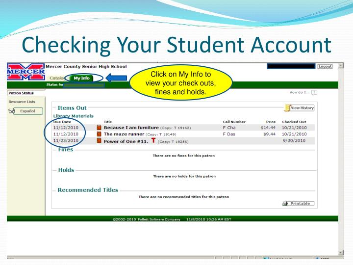 Checking Your Student Account