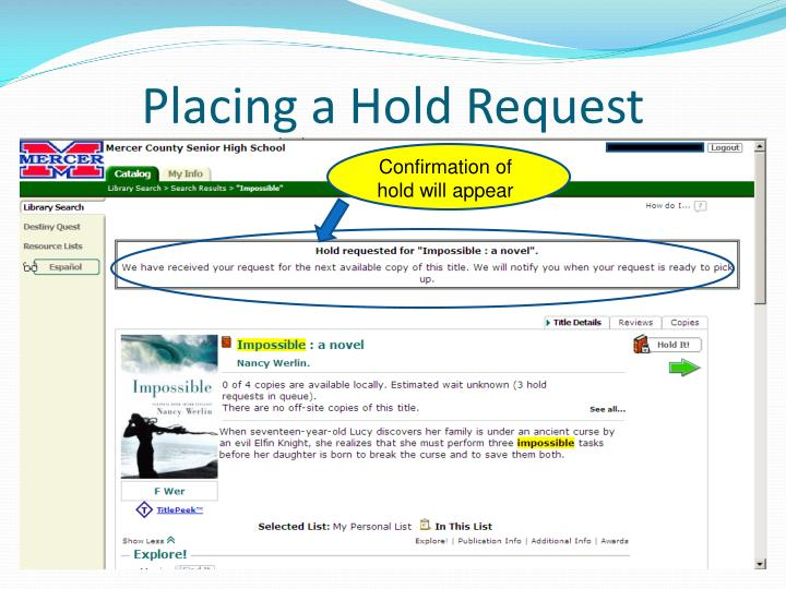 Placing a Hold Request