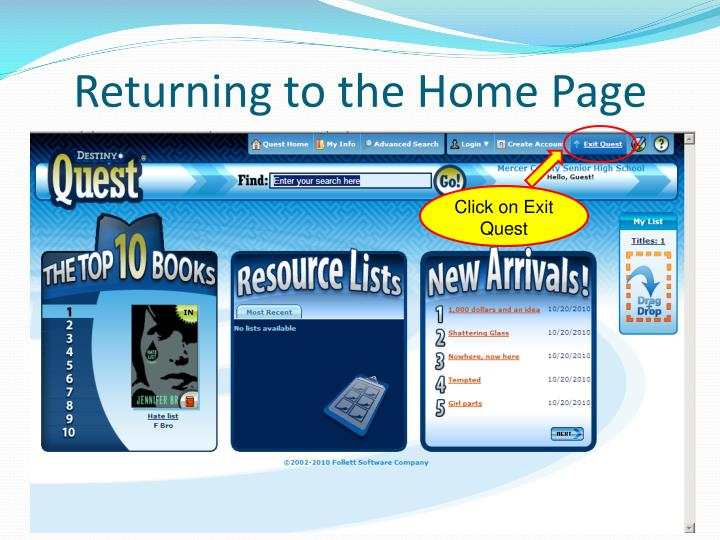 Returning to the Home Page