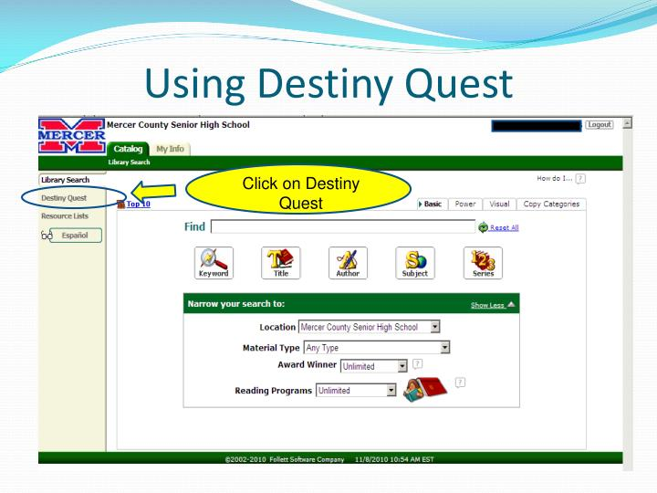 Using Destiny Quest