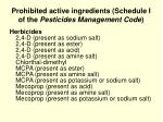 prohibited active ingredients schedule i of the pesticides management code1