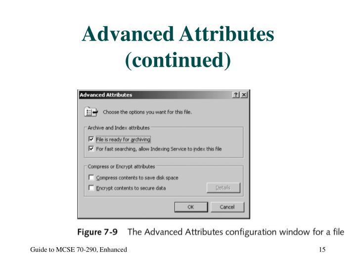 Advanced Attributes (continued)