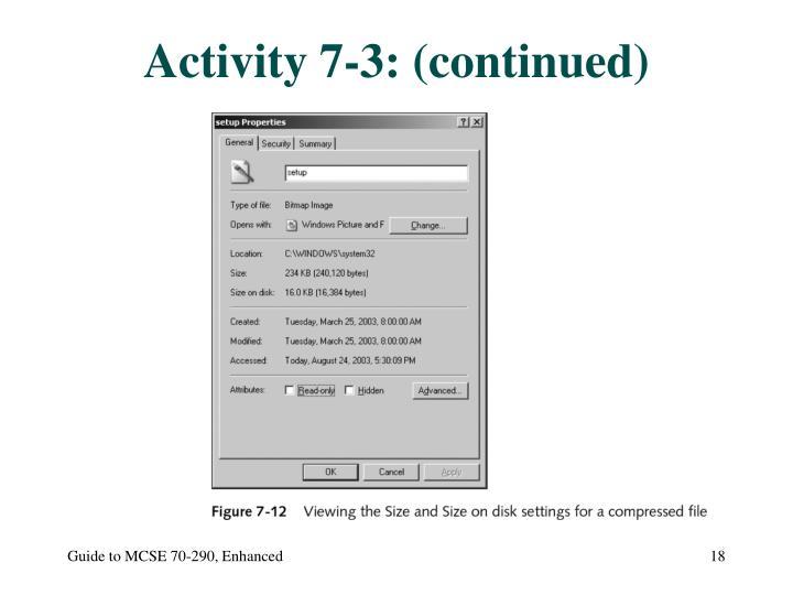 Activity 7-3: (continued)