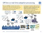 off line vs real time adaptive processing
