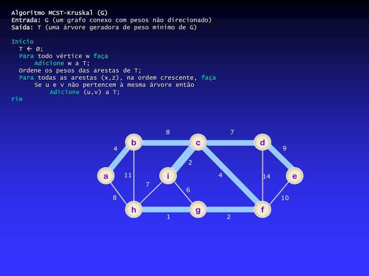 Algoritmo MCST-Kruskal (G)
