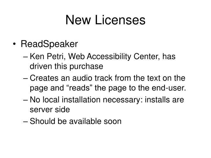 New Licenses