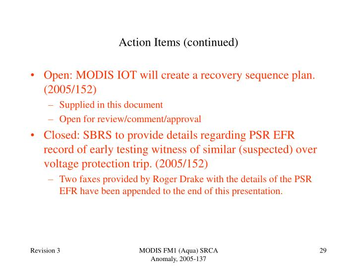 Action Items (continued)