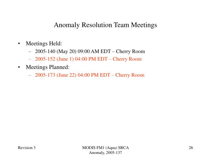 Anomaly Resolution Team Meetings