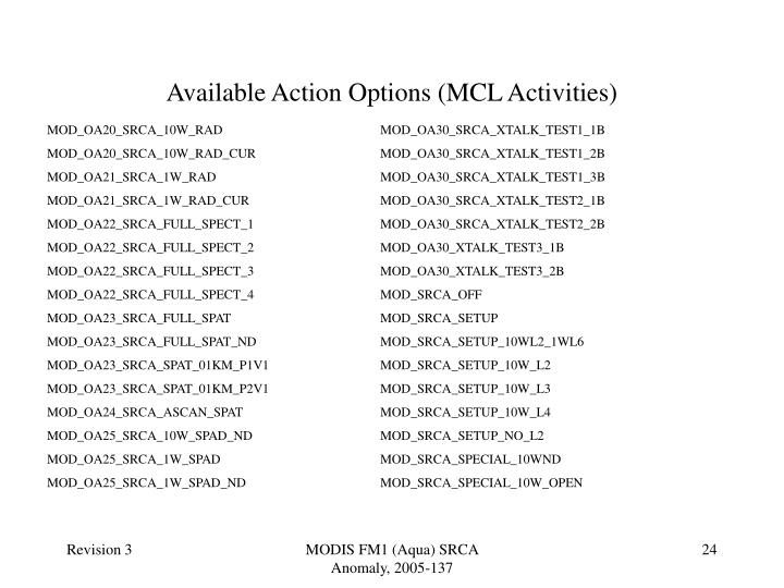 Available Action Options (MCL Activities)