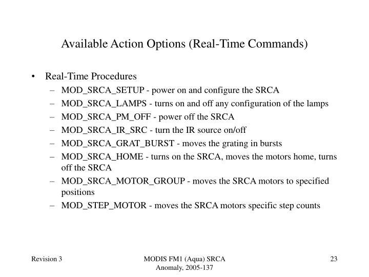Available Action Options (Real-Time Commands)