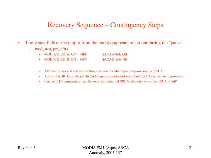 Recovery Sequence – Contingency Steps