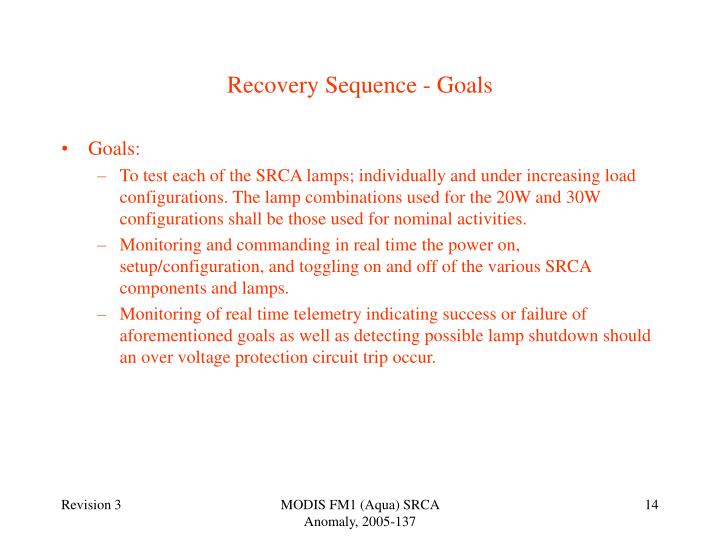 Recovery Sequence - Goals