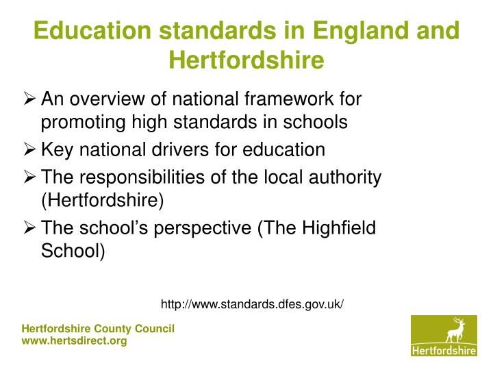 Education standards in england and hertfordshire