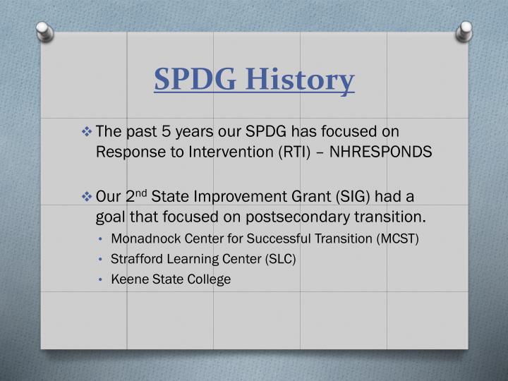 SPDG History