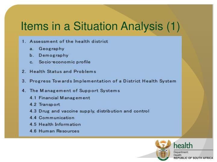 Items in a Situation Analysis (1)
