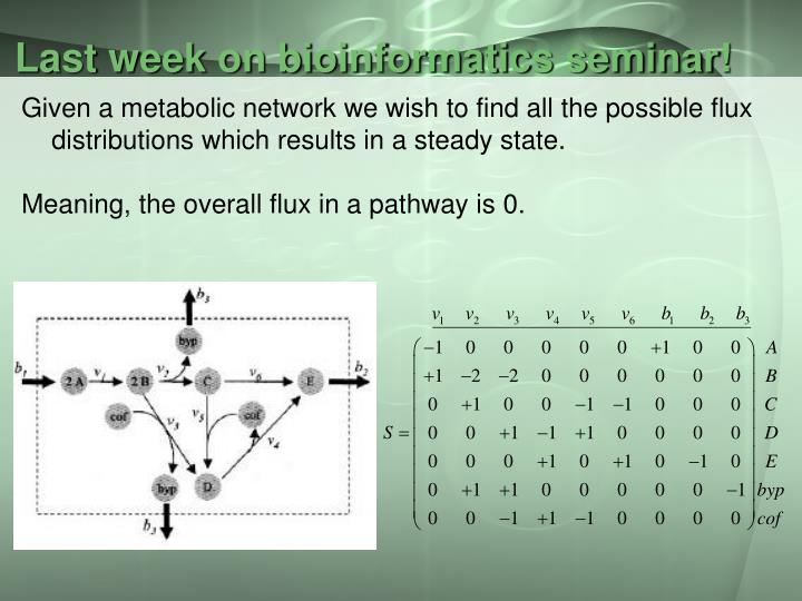 Last week on bioinformatics seminar