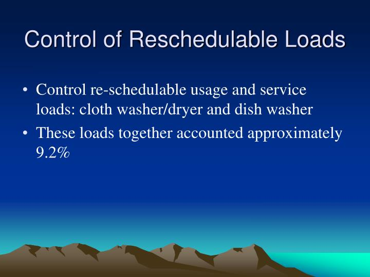 Control of Reschedulable Loads
