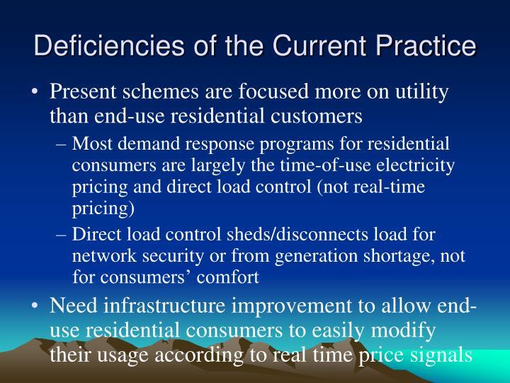 Deficiencies of the Current Practice