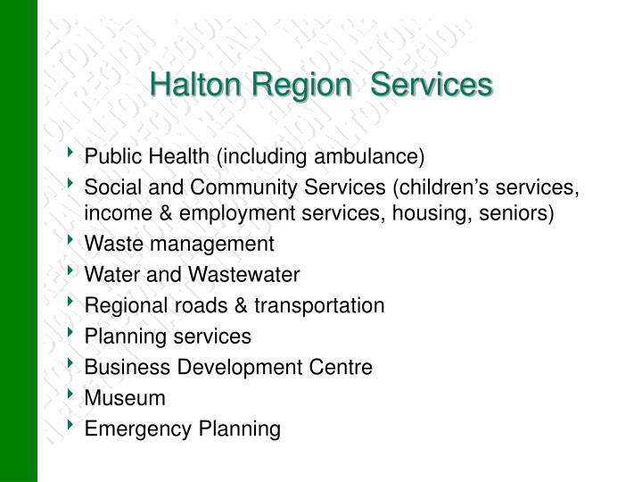 Halton Region  Services