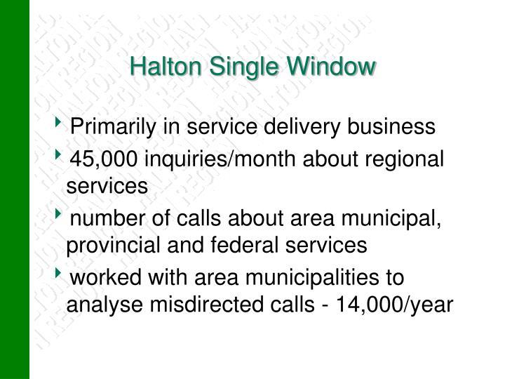 Halton Single Window