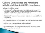 cultural competence and americans with disabilities act ada compliance