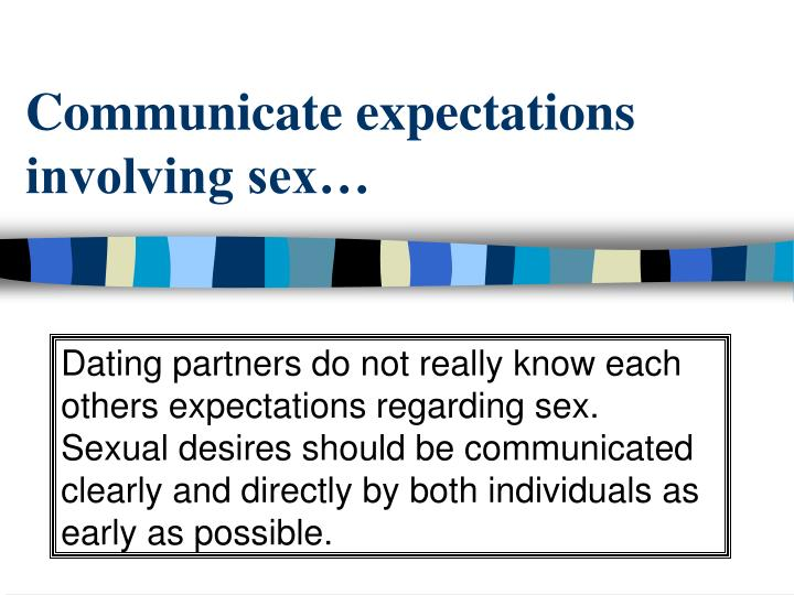 Communicate expectations involving sex…