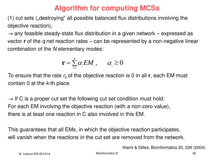 Algorithm for computing MCSs