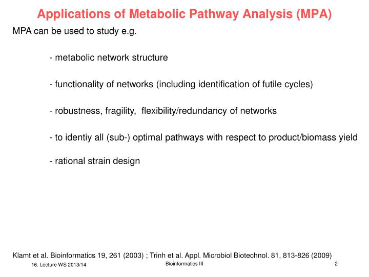 Applications of metabolic pathway analysis mpa