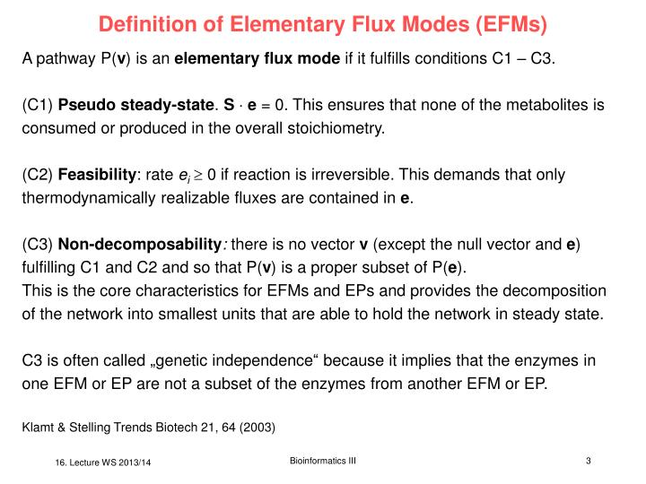 Definition of elementary flux modes efms