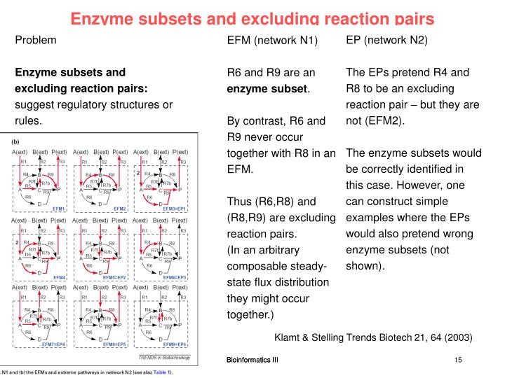 Enzyme subsets and excluding reaction pairs